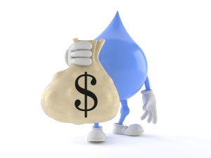 Water Droplet Cartoon holding Money Bag