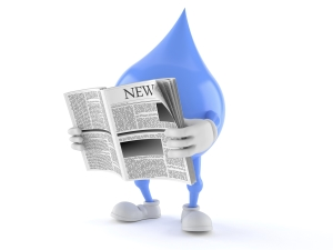 Water Droplet Cartoon reading Newspaper