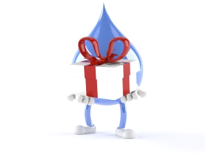 Water Droplet Cartoon holding Gift