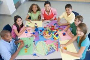 Elementary school art class viewed from above
