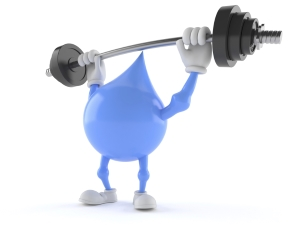 Water Droplet Cartoon lifting Dumbell