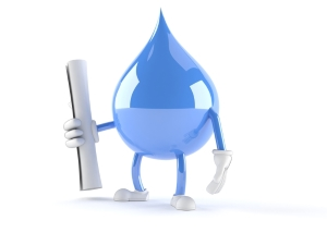 Water Droplet Cartoon holding Document
