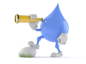 Water Droplet Cartoon with Spyglass